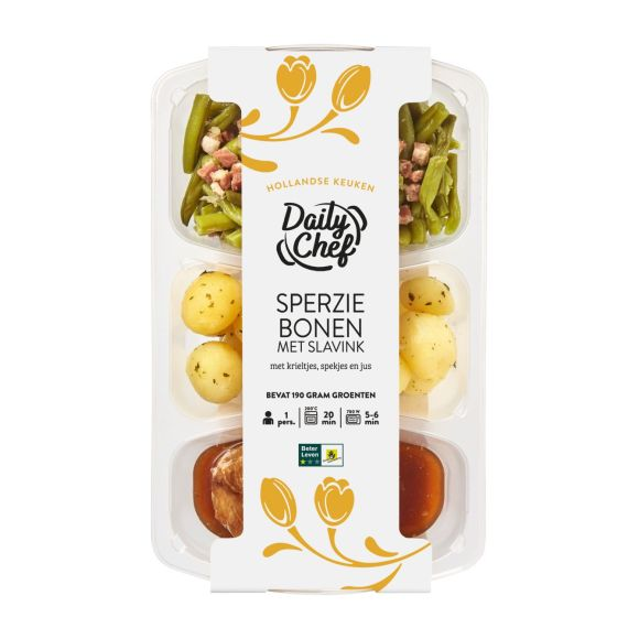 Daily Chef Sperziebonen slavink en aardappelen product photo