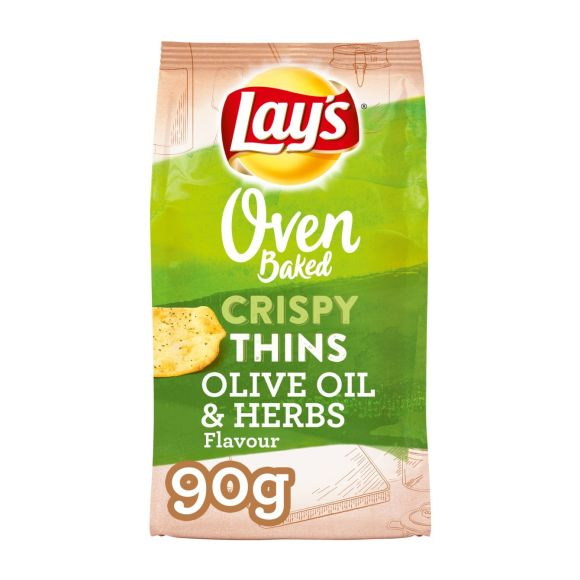 Lay's Oven baked crispy thins olive oil & herbs zoutjes product photo