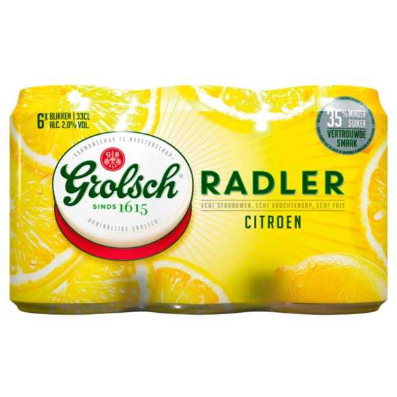 Grolsch Radler citroen bier blik 6 x 33 cl product photo