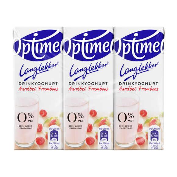 Optimel Drinkyoghurt Aardbei Framboos 0% Vet 6 x 200 ml Krimpverpakking product photo